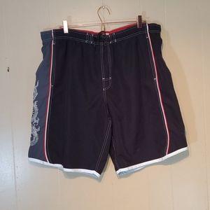 Speedo Red, Black, White & Gray Swim Shorts